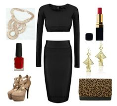This fashion-forward two piece is chic, elegant and super eye-catching. The two piece trend is everywhere this season so grab your hands on this gorgeous black set while you still can. The long sleeve top matches perfectly with the tight fitted pencil skirt. Add some sky high nude heels, some chic jewellery and a statement clutch and you're all set for a night on the town!