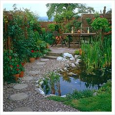 GAP Photos - Garden & Plant Picture Library - Urban garden with small pond and stepping stone path leading to seating area - GAP Photos - Specialising in horticultural photography