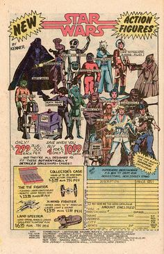 One of the original comic book advertisements for Star Wars action figures from Kenner Toys. Star Wars Comics, Star Wars Toys, Star Wars Art, Vintage Advertisements, Vintage Ads, Vintage Posters, Jouet Star Wars, Figuras Star Wars, Alec Guinness