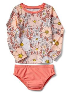 Floral Rashguard Swim Two-Piece | Gap #toddlerrashguards