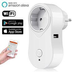 Prise intelligente Alexa WiFi iintelli Genter Fiche WiFi Smart Plug Outlet sans fil avec port USB Fonctionne pour iOS et Android smartphone…