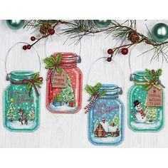 Dimensions Set of 4 Christmas Jars Ornaments Counted Cross Stitch Kit Counted Cross Stitch Patterns, Cross Stitch Designs, Cross Stitch Embroidery, Cross Stitch Angels, Cross Stitch Christmas Ornaments, Christmas Jars, Christmas Cross Stitch Patterns, Dimensions Cross Stitch, Hand Embroidery Kits