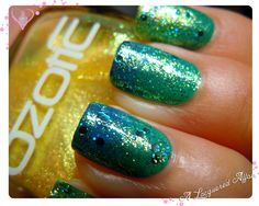 OZOTIC Sugar 904 from the Sugar and Beam series. Seen here over a blue-green sponged gradient, topped with LA Girls Nostalgic.  Swatches, review and more designs on www.alacqueredaffair.com   21 Oct 2012