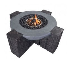 Fuctionably Modern the Hades Fire Pit features a large round cylinder shape, supported by faux wood block design. Stainless steel burner and concrete fiber construction are accented with black fire gl