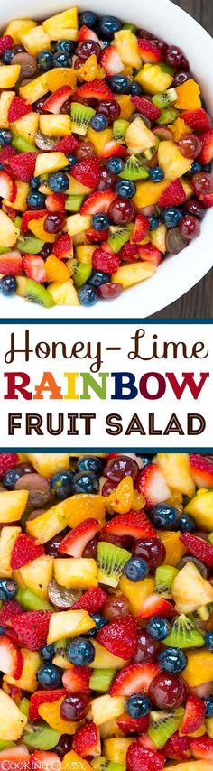 Honey Lime Rainbow Fruit Salad – perfect use for all the fresh summer fruit! Lov… Honey Lime Rainbow Fruit Salad – perfect use for all the fresh summer fruit! Love that the dressing compliments the fruit rather then overwhelms it. Healthy Snacks, Healthy Eating, Healthy Recipes, Clean Eating Salads, Healthy Drinks, Delicious Recipes, Summer Salads, Summer Fruit, Summer Dishes