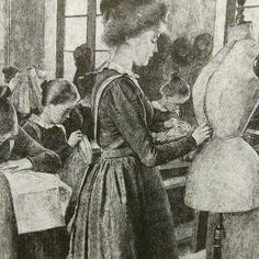 Many jobs were considered unacceptable for women in the century. This image from that time depicts one of the acceptable ways women could make a living - as dressmakers. // Image from Claire Price-Groff's, Extraordinary Women Journalists Dressmaking, Claire, 19th Century, Painting, Image, Women, Art, Craft Art, Sewing