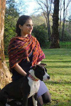 Virus shawl / wrap / prayer shawl / spring wrap / handmade shawl / super beautiful shawl in crochet in orange purple pink and yellows by AirasLovelyKnits on Etsy
