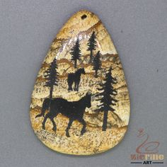 Crafted Etched Horse Pendant For Necklace Natural Picture Jasper Rock  ZL001416 #ZL #Pendant