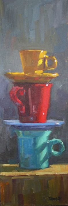 DPW Original Fine Art Auction - The Latest Stack - © Cathleen Rehfeld Painting Still Life, Still Life Art, Acrylic Painting Inspiration, Quirky Art, Painted Cups, Cup Art, Fine Art Auctions, Kitchen Art, Art Oil