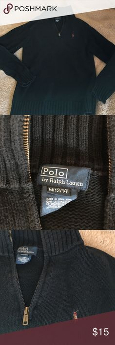 Polo Ralph Lauren Boys Black Pullover Sz M(12-14) Boys Polo black Pullover Size M (12-14).  Nonsmoking home, bundle for a deeper discount.  Open to offers Polo by Ralph Lauren Shirts & Tops Sweatshirts & Hoodies