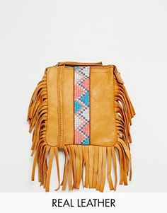 Pieces Leather Beaded & Fringed Crossbody Bag