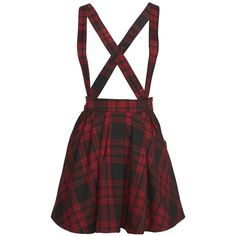 Mini Cream Check Print Suspender Skirt (£71) ❤ liked on Polyvore featuring skirts, dresses, bottoms, overalls, red pleated skirt, red tartan plaid skirt, pattern skirt, print skirt and tartan plaid skirt