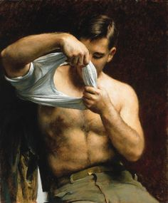 blastedheath:    hotguysinart  John Koch (American, 1909-1978)Man Putting on His Shirt. Oil on canvas.