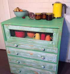 Chest Of Drawers Kitchen Hutch Quirky UPCYCLED Vintage Shabby