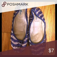 🎉clearance! 🎉Sequin ballet flats Blue and white sequin ballet flats. Shoes Flats & Loafers