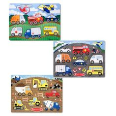 Melissa & Doug Vehicle and Construction Peg Puzzle Bundle, 3-Pack by Melissa & Doug. $19.99. From the Manufacturer                These preschool puzzles feature bright-red pegs to help children grasp each wooden piece. Lively, colorful artwork depicts an exciting scene on each wooden puzzle board, with matching pictures under each piece. With three high-interest themes to grab preschoolers' attention, these puzzles are the perfect fit of encouragement and fine-motor challenge.