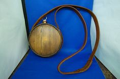 Civil War Re-Enactment or Camping Wood & Leather Canteen Flask