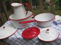 Red White Vintage Enamelware Collection  Set by PerfectPieLady, $52.00