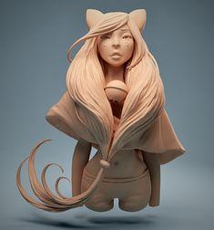 Cat Girl, Laura Riondet on ArtStation at https://www.artstation.com/artwork/4yZE2