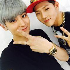 EXO's Chanyeol with Monsta X's Jooheon