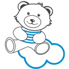 Teddy bear wall decal No12 In the clouds