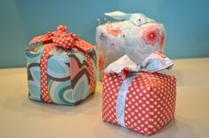 pretty parcel pincushion - to transform into blocks for kids