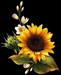 Tole Painting One Stroke Painting Sketch Painting Watercolor Paintings Sunflower Art Sunflower Tattoos Beautiful Roses Happy Flowers Sunflowers One Stroke Painting, Tole Painting, Sunflowers And Daisies, Sun Flowers, How To Paint Sunflowers, Flower Pots, Sunflower Pictures, Pictures Of Flowers, Mandala