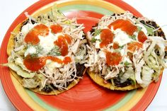 Tostadas! Chicken, meat, anything! The Mexican Pizza!