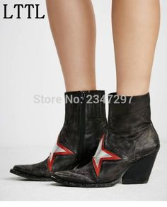 83.30$  Watch here - http://ali5ko.worldwells.pw/go.php?t=32727237920 - 2016 Gladiator Retro style women short boots pointed toe Star pattern zip women's shoes handmade motorcycle boots 83.30$