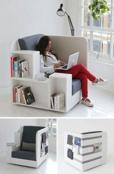 Chairs All Book Lovers Will Appreciate // Large cubbies, comfortable cushions, and the perfect spot for resting a cup of coffee or a plate of snacks, makes this chair the one you'll want to spend all day in. Smart Furniture, Space Saving Furniture, Home Decor Furniture, Diy Home Decor, Furniture Design, Room Decor, Office Furniture, Folding Furniture, Furniture Ideas