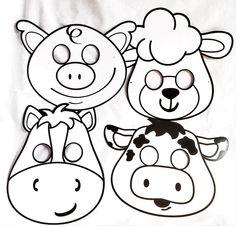 Farm Animal Masks: DIY Color Your Own Set of 4 farm animal: horse, pig, lamb, lamb found on Heart Felt Play Store
