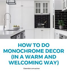 Monochrome doesn't have to be cold. Here's how to keep with the cool and chic trend while still being warm and welcoming. Home Room Design, House Design, Clarendon Homes, Kitchen Benches, Display Homes, Kitchen Fixtures, Guest Bedrooms, Home Decor Trends, House Rooms