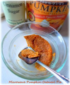 microwave pumpkin oatmeal pie ~ single serving 'pie' ~ super low fat & just over 110 calories ~ ready in minutes