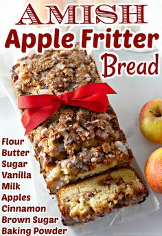 Amish Apple Fritter Bread is a sweet, soft, quick-bread filled with apples and sweet brown sugar cinnamon. A delicious treat with coffee or tea, serve this delicious apple bread warm with whipped butter. Amish Recipes, Apple Recipes, Fall Recipes, Baking Recipes, Holiday Recipes, Apple Fritter Recipes, Sweet Recipes, Apple Fritter Bread, Apple Bread
