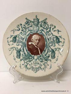 Oggettistica d`epoca - Piatti Piatto commemorativo Sarreguemines - Antico piatto transferware di Papa Leone XIII Immagine n°1