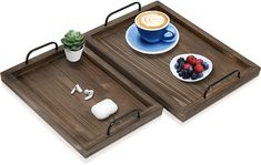 Wooden Serving Tray with Handles Lightweight Bed Tray for Breakfast in Bed Farmhouse Decorative Wood Tray for Ottoman Coffee Table Serving Trays For Ottomans, Serving Tray Decor, Serving Trays With Handles, Wooden Serving Trays, Bed Tray, Ottoman Tray, Farmhouse Serving Trays, Breakfast In Bed, Farmhouse Decor