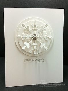 Deb's elegant snowflake card with Good Greetings (hostess) and the Snowflake Thinlits Card Die. All supplies from Stampin' Up!