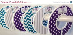 ON SALE 6 Custom Baby Closet Dividers Purple Teal and Grey Butterfly Butterflies Dots, Stripes, Chevrons CD532 Baby Girl Nursery Shower Gift