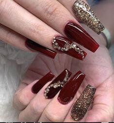 Burgundy Acrylic Nails, Burgundy Nail Designs, Red And Gold Nails, Maroon Nails, Best Acrylic Nails, Nail Designs Easy Diy, Fall Nail Designs, Acrylic Nail Designs, Sassy Nails