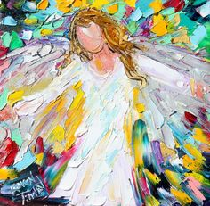 Original oil painting Arms of an Angel palette by Karensfineart