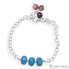 Handmade Blue Quartz Rondell Bead Bracelet by jewelrymandave, $59.95