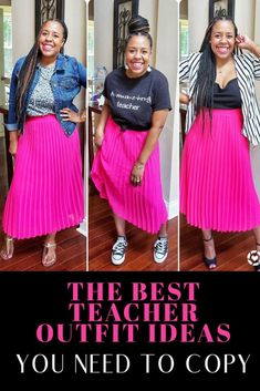 Get inspired by the best fall teacher outfits with the latest trends this year including leopard, plaid, and more. Plus, a new twist on your favorite teacher tee! Sweater Skirt Outfit, Cute Skirt Outfits, Cute Skirts, Work Outfits, Spring Outfits, Teaching Clothes, Teaching Outfits, Teacher Wear, Teacher Style