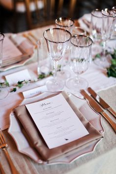 Shannon Leahy Events - San Francisco Wedding - James Leary Flood Mansion - Table Setting - Wine Glasses - Menu