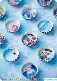 Mini fotoramar av kapsyler med magnet