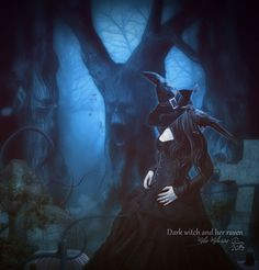 Dark witch and her raven by MelieMelusine.deviantart.com on @DeviantArt