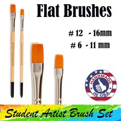 A and a flat paintbrush are part of Hand Touched Crafts Student Artist Brush Set. The brush has a 16 mm head length and the # 6 paintbrush has an 11 mm brush head length. Flat Brush, Brush Set, Cruelty Free Brushes, Part Of Hand, Artist Brush, Stippling, Amazon Art, Sewing Stores, Paint Brushes