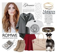 """""""Romwe Red Flare Skirt"""" by jane-doglover ❤ liked on Polyvore featuring Givenchy"""
