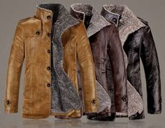 2014 Hot sell Fashion Men's winter leather coat Lamb Fur Coat Warm