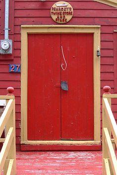 Buy 'Red Door' by JerryCurtis as a Greeting Card. Door of a gift shop in The Battery, St. Stairs Window, Doorway, Door Entryway, Entrance Doors, Behind The Green Door, Portal, When One Door Closes, Cool Doors, Door Gate