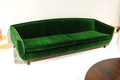 green velvet couch
